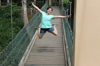 Me jumping on a hanging bridge