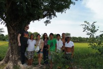 The family at the middle of the rice field
